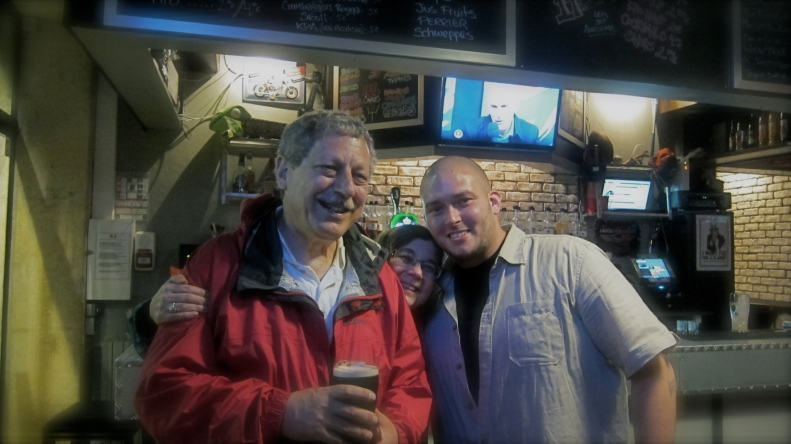 with Louis, proprietor of Bordeaux's first beer pub.